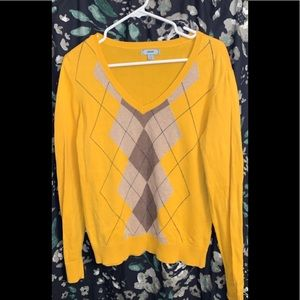 Size large mustard colored Izod argyle sweater.